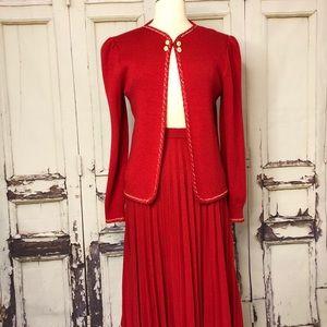 Vintage ST. JOHN Red knit skirt suit set cardigan